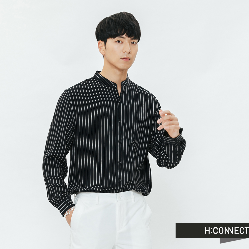 H:CONNECT 韓國品牌 男裝-圓領排扣嫘縈襯衫-藍