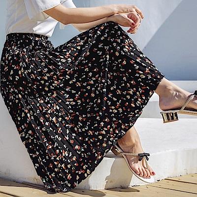 La Belleza黑色腰頭水墨花印花百摺長裙(有內裡)