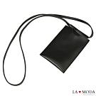 La Moda  輕巧實用~長背帶質感票卡夾手機套證件套(黑)