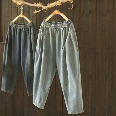 水洗做舊寬臀褲寬鬆拼接顯瘦牛仔褲-設計所在
