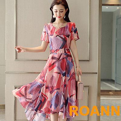 不規則印花短袖長洋裝 (共二色)-ROANN