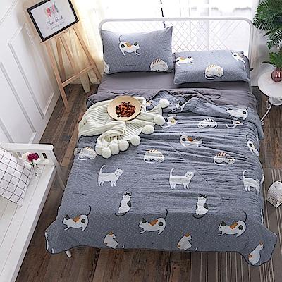 BUNNY LIFE 貓咪灰-雙人-水洗舒柔床包涼被組