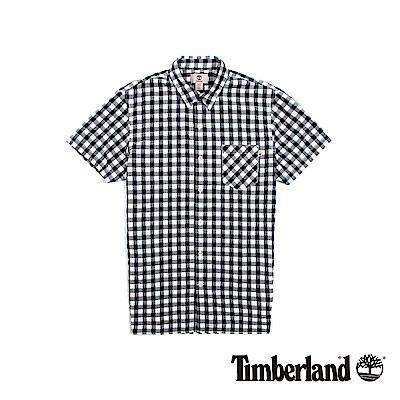 Timberland 男款黑白正方格紋休閒短袖襯衫 | A1SHZB68