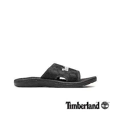 Timberland 男款黑色休閒平底拖鞋|A1YGV