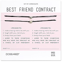 Dogeared best friend 立體愛心手鍊 925純銀墜 黑線手鍊 對鍊套組