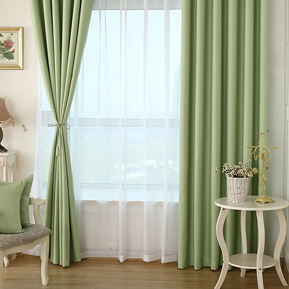 布安於室-素色綠色單層遮光窗簾-寬130x高150cm