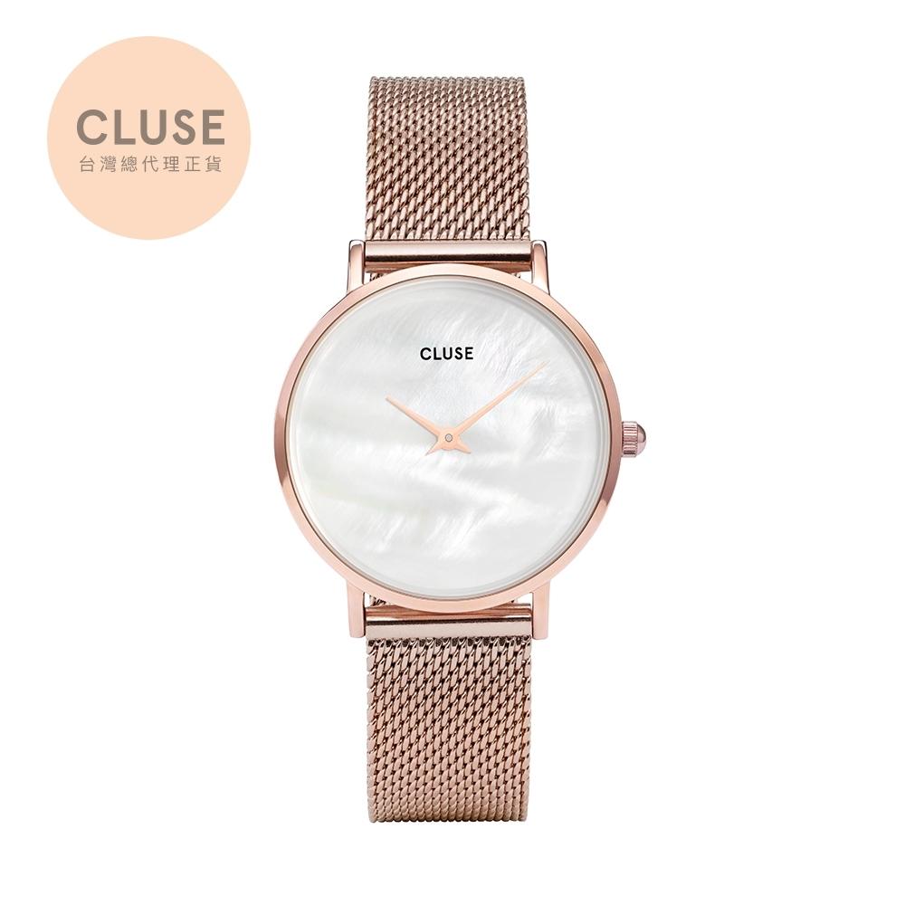 CLUSE Minuit午夜不鏽鋼米蘭錶帶款 玫瑰金框33mm