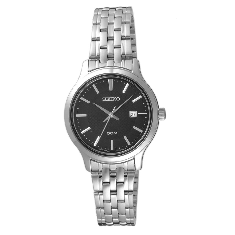 SEIKO夏日點點時尚女腕錶-銀X黑(SUR649P1)/30mm