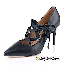 Lilylollipop-Luxury 芭蕾緞面綁帶細高跟鞋--黑