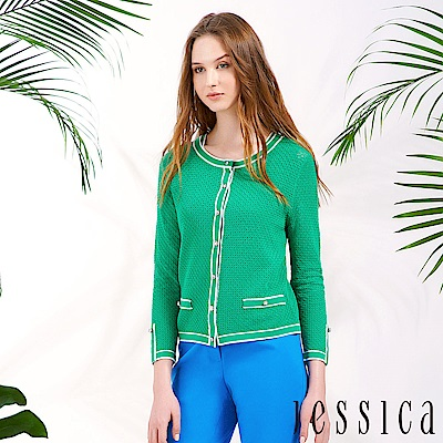 JESSICA - 格紋鑽飾造型針織開襟衫(綠)