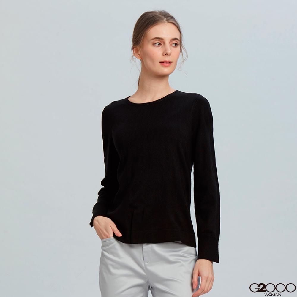 G2000素面長袖針織衫-黑色