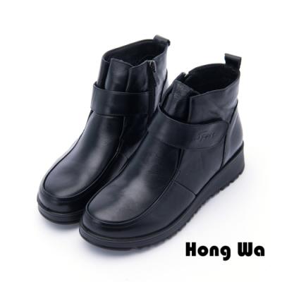 Hong Wa - 日系超人氣牛皮扣帶短靴 - 黑