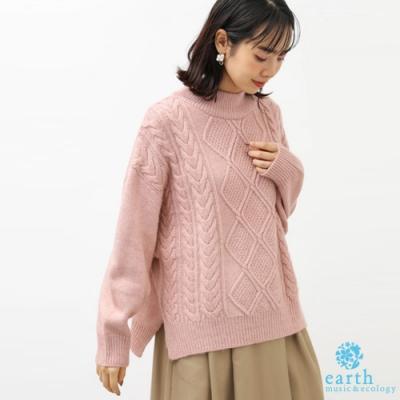 earth music 菱格紋麻花編織V領針織上衣