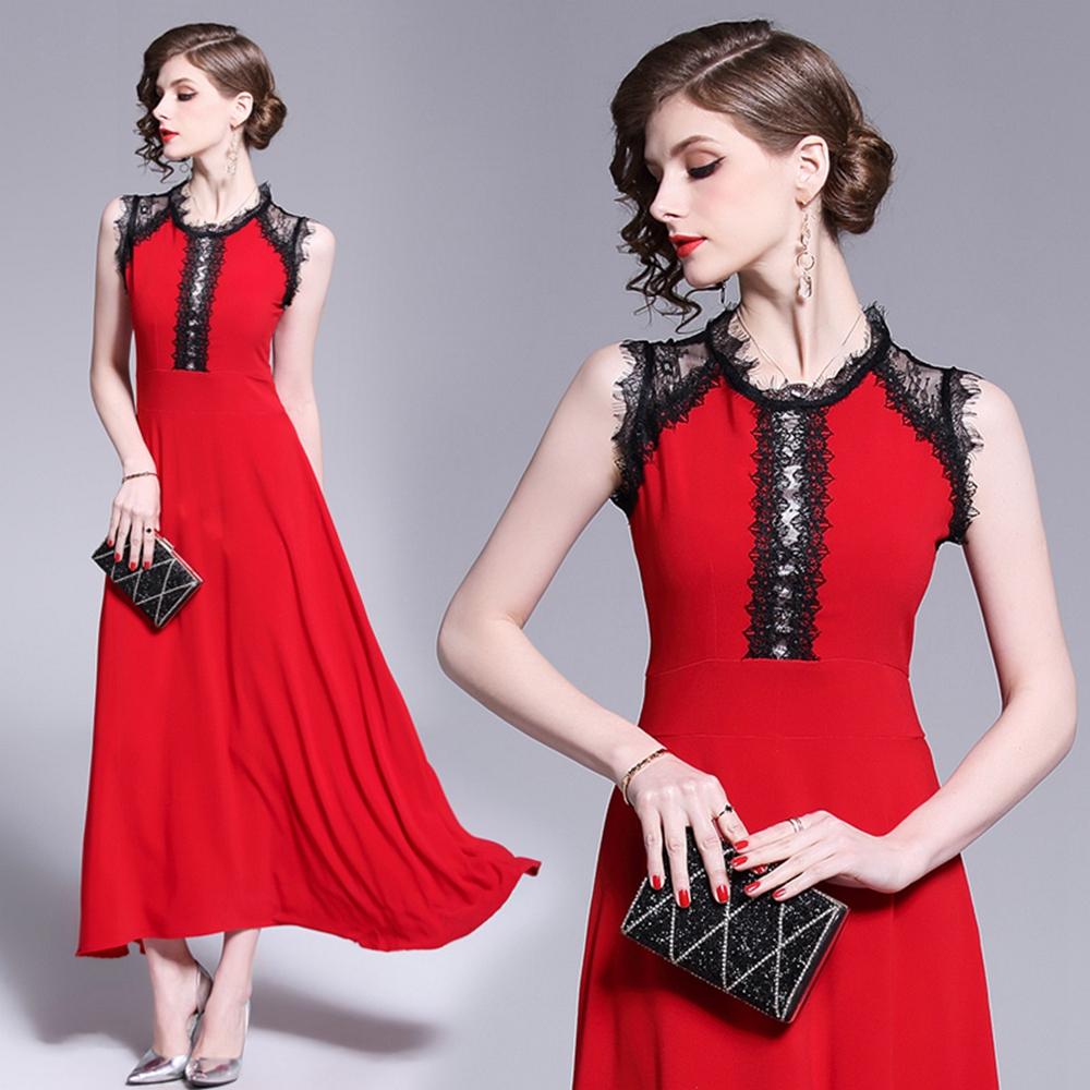 一字肩蕾絲絨魚尾修身禮服S-XL-M2M @ Y!購物