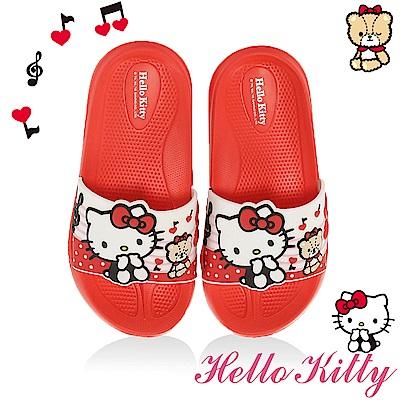 HelloKitty 音符系列 輕量吸震內外兩用拖童鞋-紅