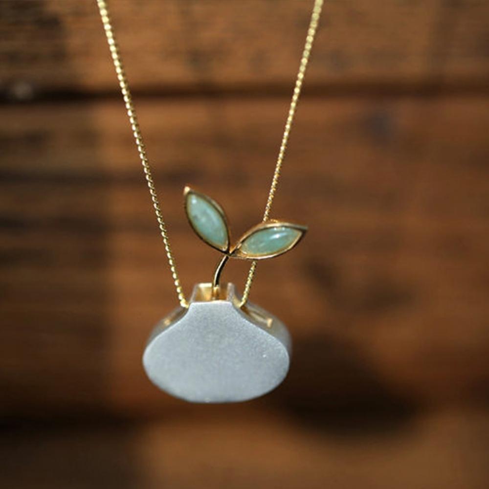 東方美學純銀鑲嵌東陵玉設計感盆栽吊墜/胸針-設計所在