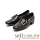 【FAIR LADY】Soft芯太軟 不規則金屬釦環方頭低跟鞋 黑 product thumbnail 1