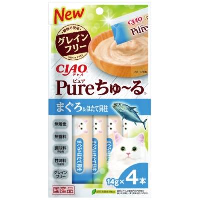 CIAO PURE 啾嚕肉泥鮪魚+扇貝(14gx4入/包)三包入組合