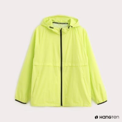 Hang Ten-ThermoContro-男裝薄夾克收納風衣外套-螢光綠