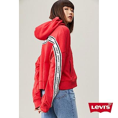 Levis 女款 連帽外套 寬鬆落肩設計 撞色Logo 邊條 字母Logo刺繡