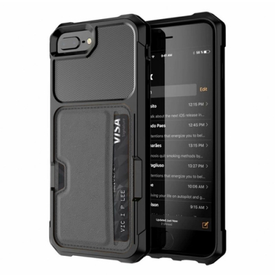 【TOYSELECT】iPhone 6/7/8 Plus TYS彗星黑[插卡+支架]四角抗撞防摔iPhone手機殼