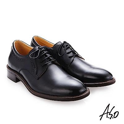 A.S.O 職人通勤 綁帶蠟感牛皮紳士鞋 黑