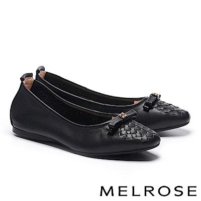 平底鞋 MELROSE 內歛素雅蝴蝶結金屬釦全真皮平底鞋-黑
