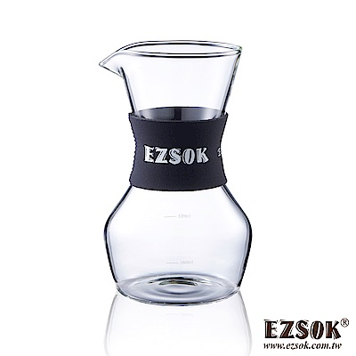 EZSOK 經典 防滑玻璃咖啡手沖壺350ml 流行霧黑色