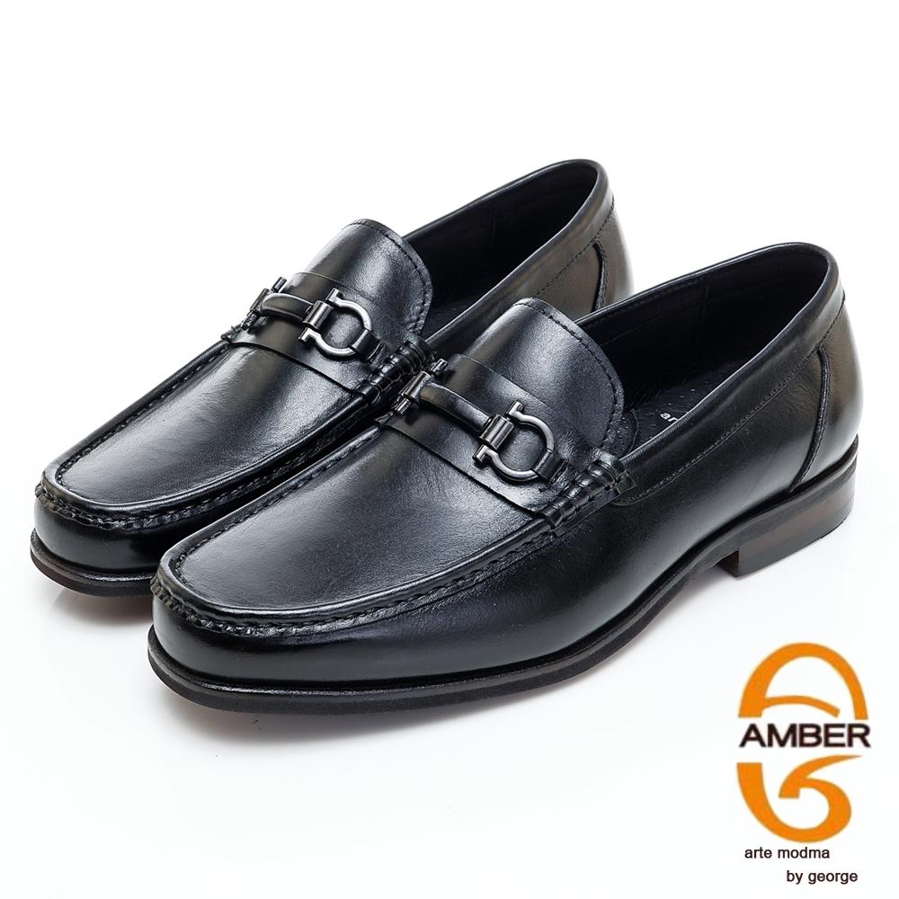 AMBER經典系列漸層皮革金屬扣環直套式紳士鞋方頭鞋-黑色