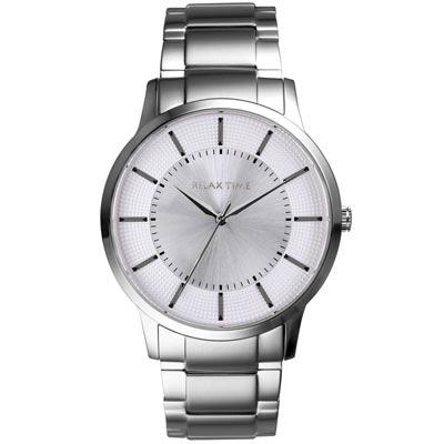 RELAX TIME入門紳士錶款 RT-76-1 銀x白/42mm