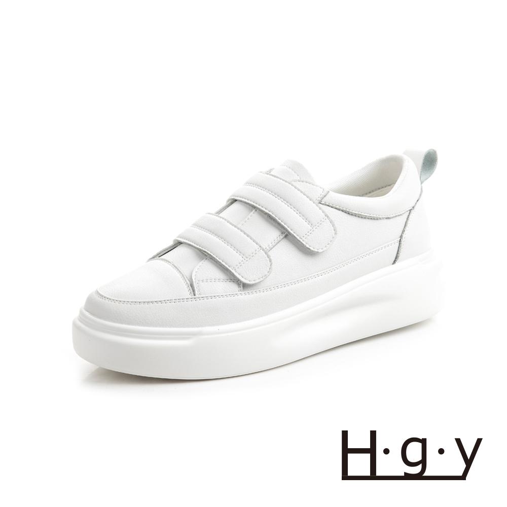 HGY-正韓-增高鞋真皮鞋自黏款小白鞋-增高4公分-白