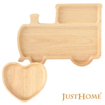 Just Home台灣製暖心生活橡膠木造型餐盤2件組/卡通托盤/兒童餐盤