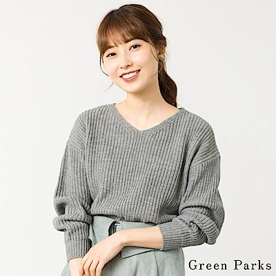 Green Parks V領針織素面上衣