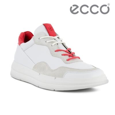ECCO SOFT X W 拼接雙色運動風休閒鞋 女鞋 白色/木槿红