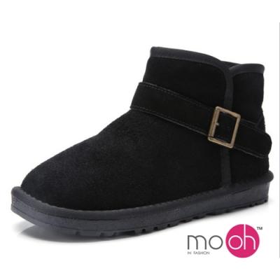 mo.oh真皮皮帶扣保暖短筒雪靴-黑色