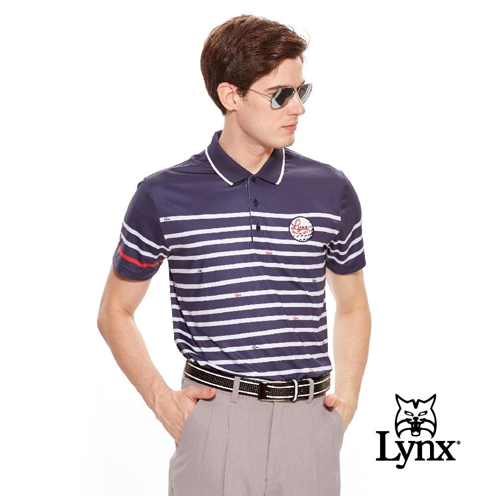 【Lynx Golf】男款涼感舒適滿板橫條印花短袖POLO衫-深藍色