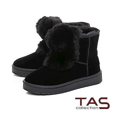 TAS 大圓毛球造型素面絨布雪靴-實搭黑
