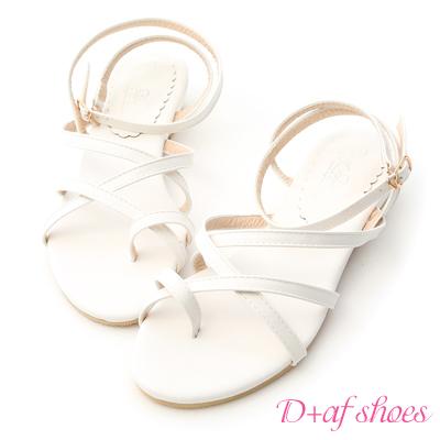 D+AF 獨特氣息.交叉線條小坡跟涼鞋*白