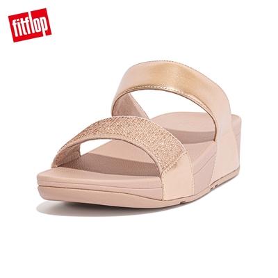 【FitFlop】LULU CRYSTAL EMBELLISHED SLIDES 經典水鑽雙帶涼鞋-女(玫瑰金)
