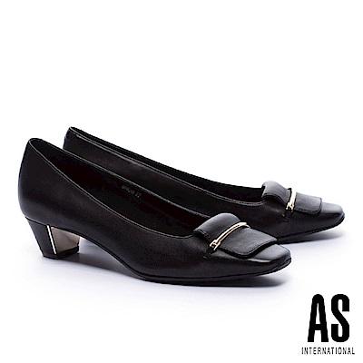 低跟鞋 AS 高雅純熟反折馬銜釦羊皮方頭低跟鞋-黑