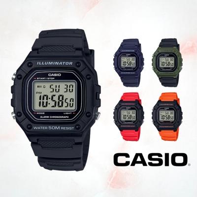 CASIO卡西歐 復古方形電子錶(W-218H)