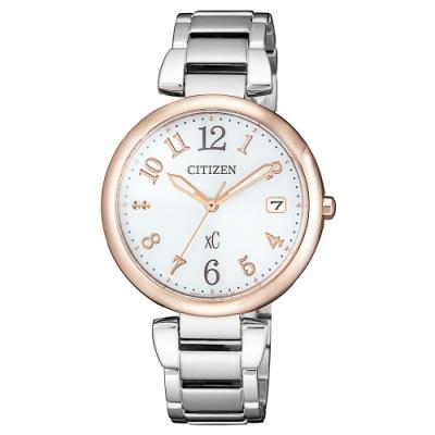 CITIZEN 星辰xC光動能優雅時尚手錶EO1195-51A-銀X玫瑰金/33mm