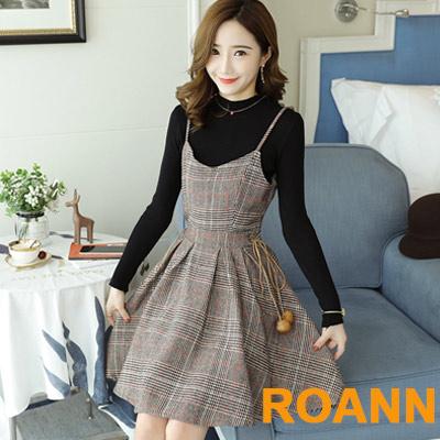 坑條紋毛衣+格紋吊帶裙兩件套 (黑+格紋)-ROANN