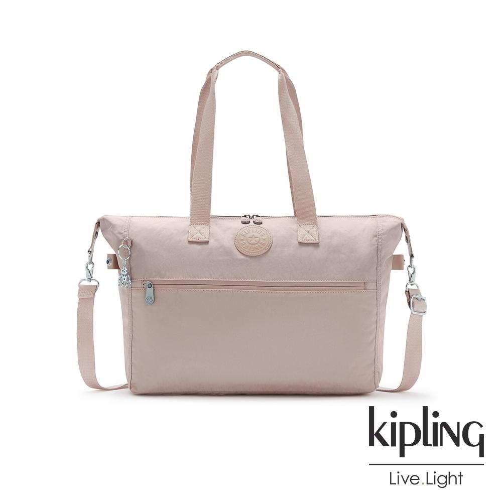 Kipling 玫瑰拿鐵色前拉鍊手提肩背斜背托特包-ILIA