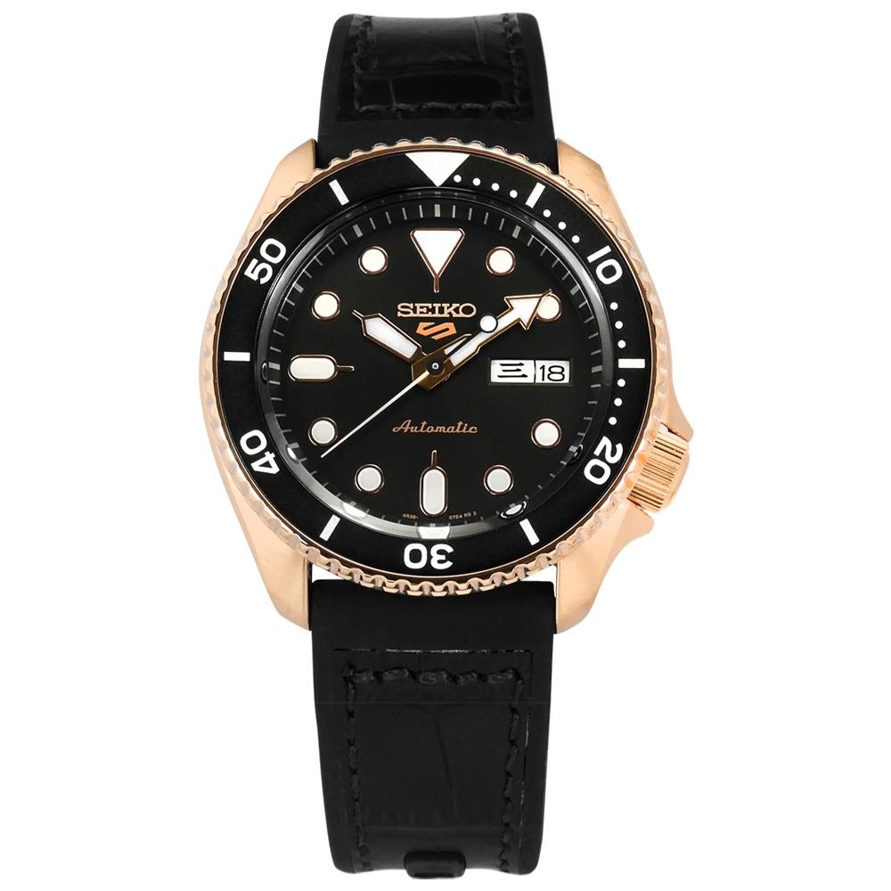 SEIKO 精工  5 Sports 機械錶 自動上鍊 壓紋矽膠手錶 黑x玫瑰金框 41mm