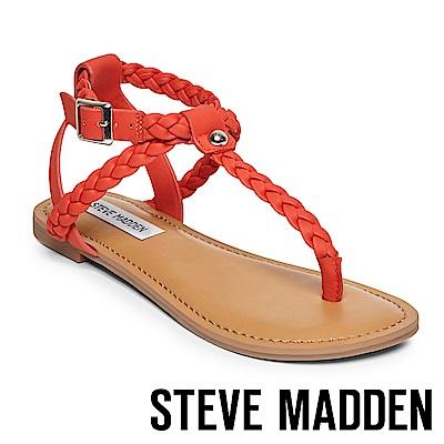 STEVE MADDEN- BRAIDED 編織羅馬繫帶平底涼鞋-橘色