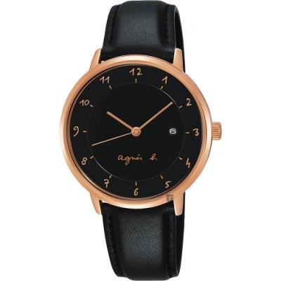 agnes b. 法國時尚簡約風情女錶(B4A005J1)-黑x玫塊金框x黑/33mm