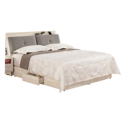 文創集 杜蜜拉5尺棉麻布雙人床台(床頭箱+三抽床底+無床墊)-156x217x102cm免組