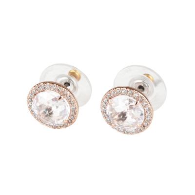 kate spade Bright Ideas圓形設計鑽鑲飾穿式耳環(玫瑰金x白)