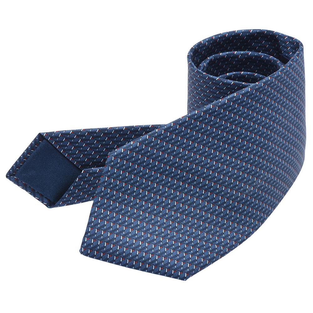 HERMES 經典Domino系列骨牌圖案純絲厚版領帶(水手藍X紅)